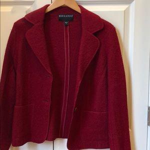 Bernardo red boiled wool blazer